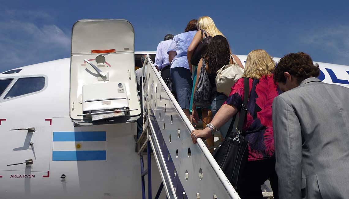 Boarding an airplane